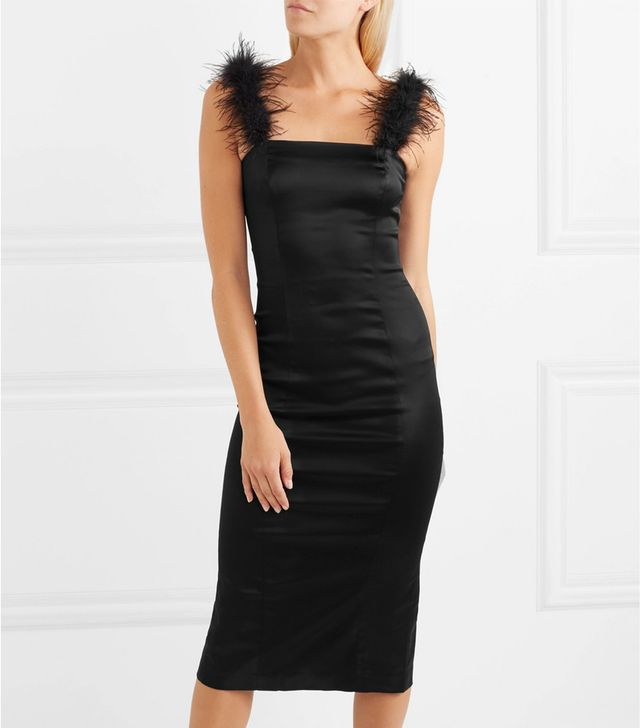 Romy Feather-Trimmed Stretch-Satin Dress