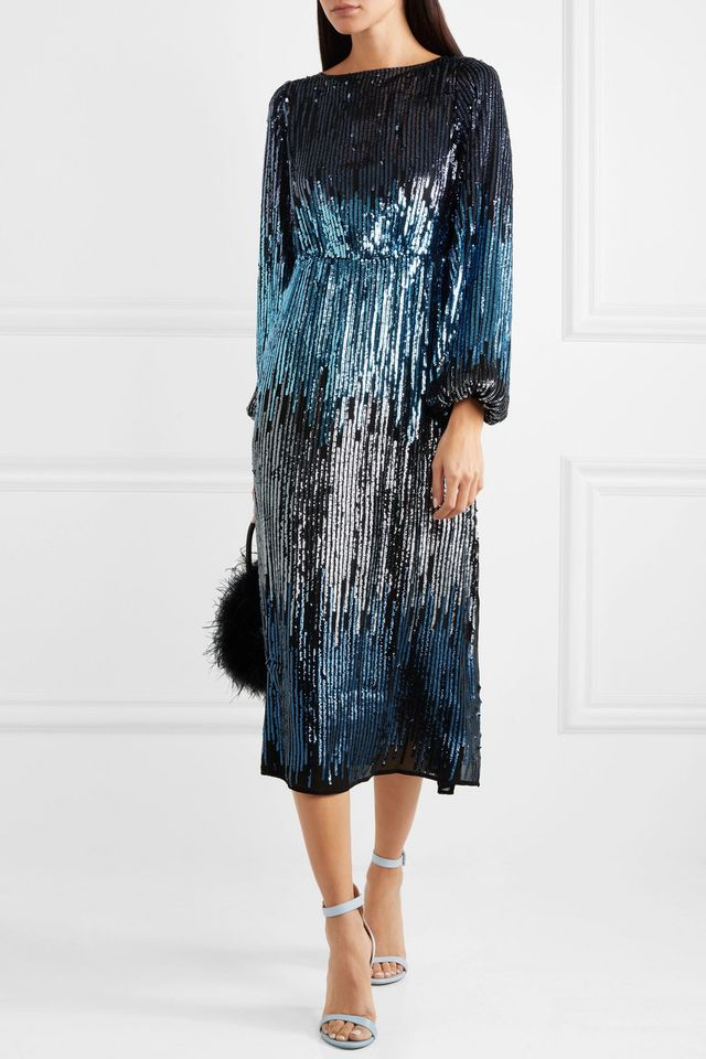 Coco Ombré Sequined Tulle Midi Dress