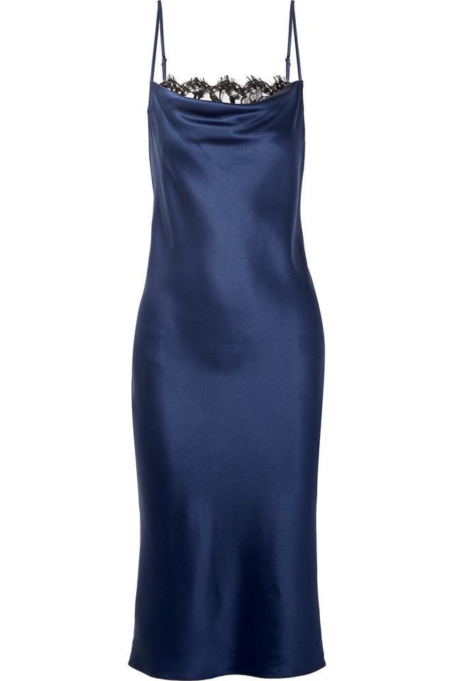 Draped Lace-trimmed Silk-satin Midi Dress