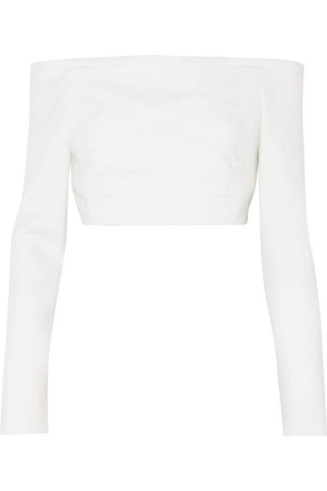 Gerda Off-the-shoulder Wool-crepe Top
