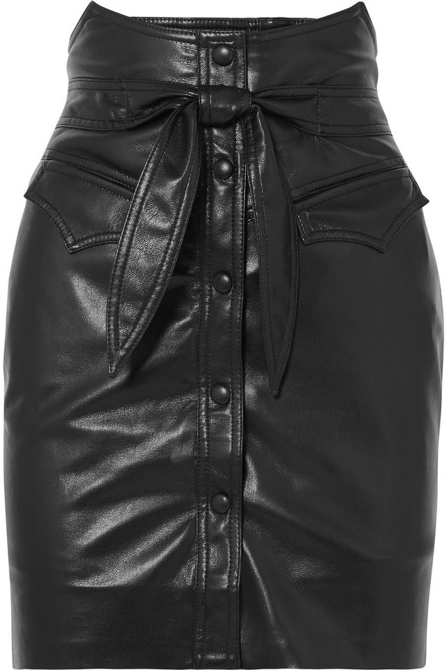 Reese Belted Vegan Faux Leather Mini Skirt