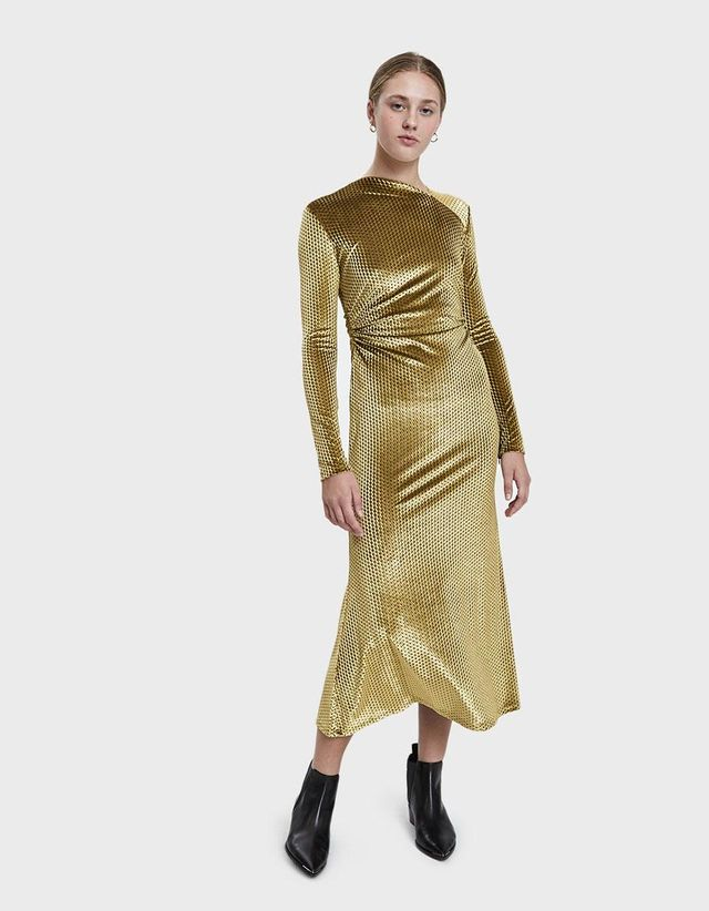 Surveillance Ruched Velvet Dress