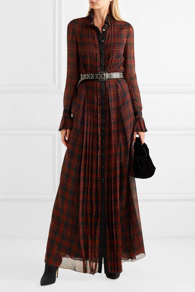 Satin-trimmed Pleated Tartan Chiffon Maxi Dress