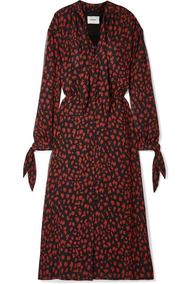 Zahara Pussy-bow Printed Crinkled-chiffon Midi Dress