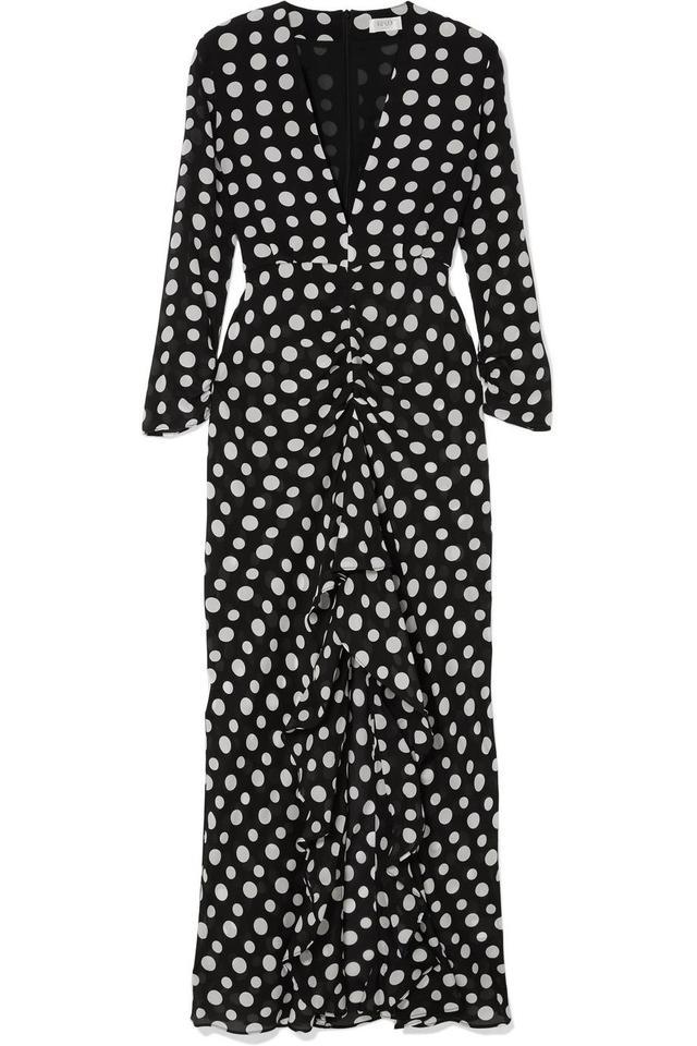 Adriana Ruffled Polka-dot Silk-crepe Midi Dress