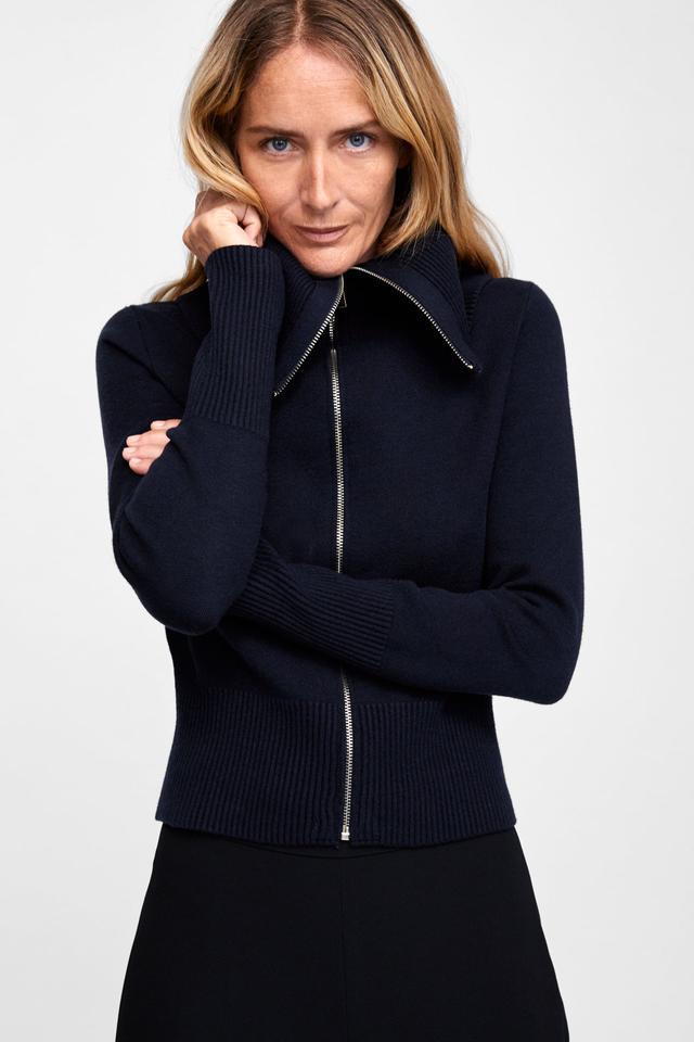 Zara Short Cardigan With High Collar