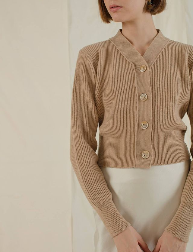 Pixie Market Tan Button Crop Cardigan