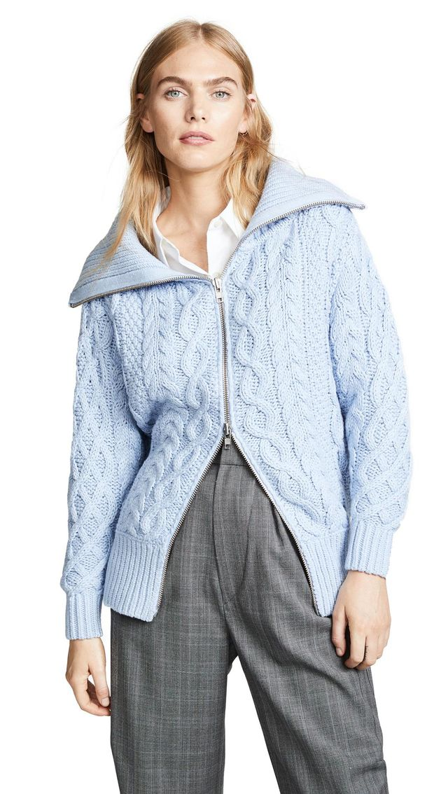 Long Cable Knit Cardigan