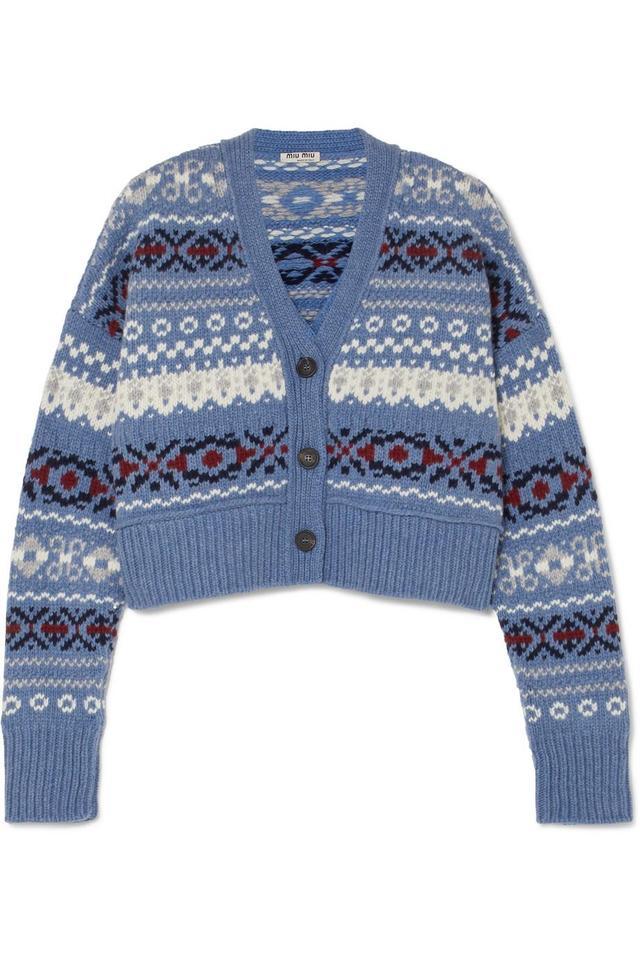 Cropped Fair Isle Wool Cardigan
