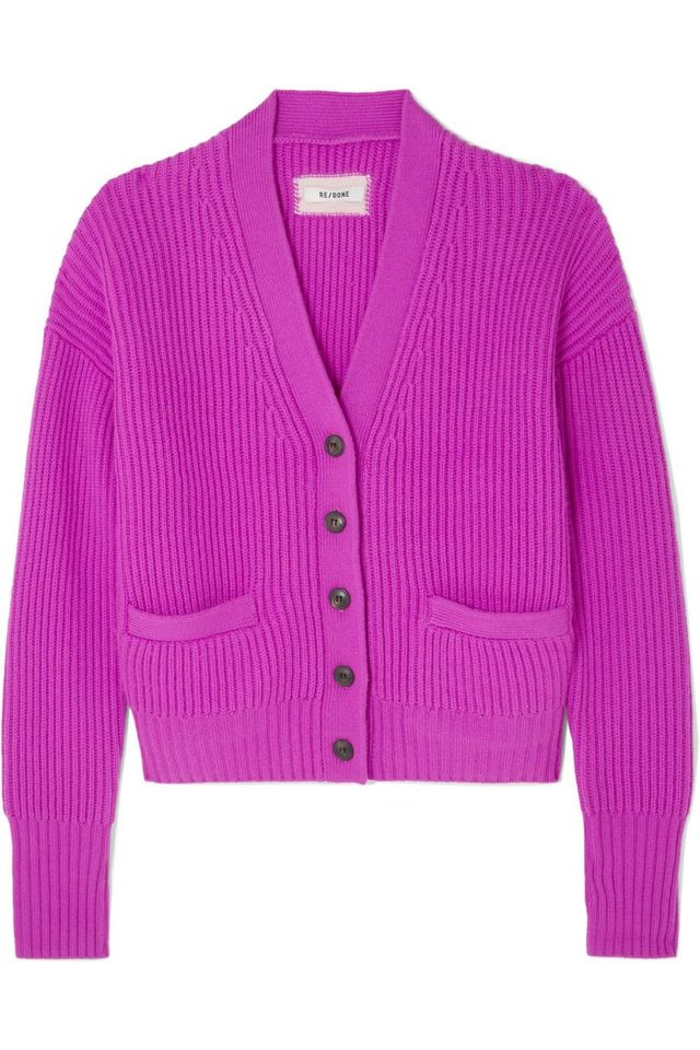 Ribbed Wool and Cashmere-Blend Cardigan