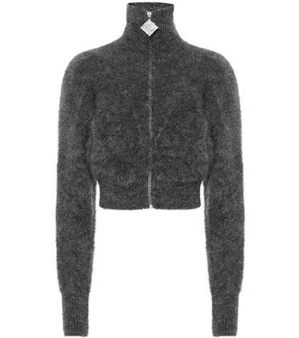 Zip-front mohair-blend cardigan