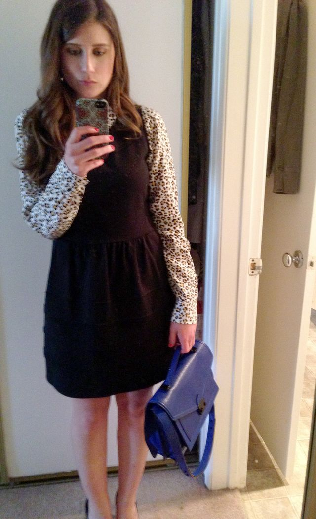 <p><em>Who What Wear interview number two outfit. (I still have that animal-print Equipment shirt.)</em></p>