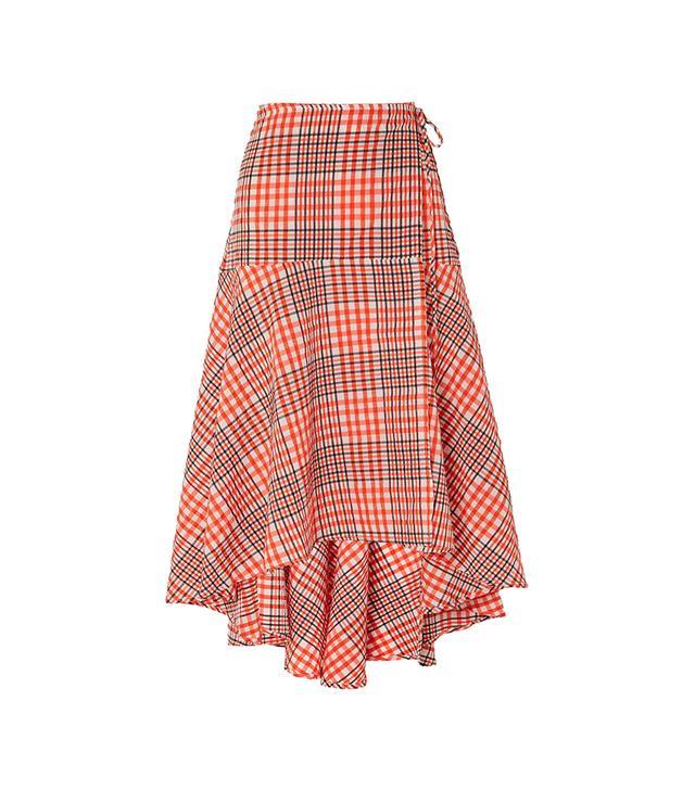 Charron Checked Cotton-blend Seersucker Wrap Skirt