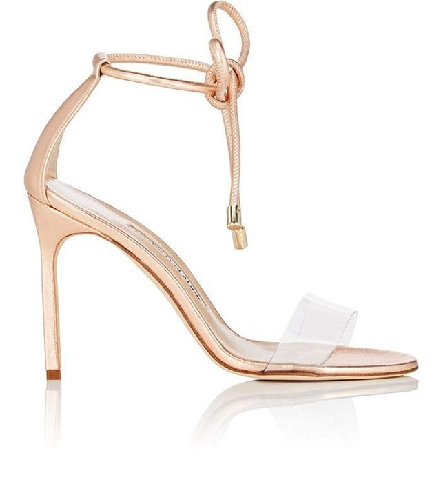 Estro Leather & PVC Ankle-Tie Sandals
