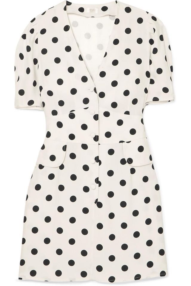 Laura Polka-dot Crepe Mini Dress