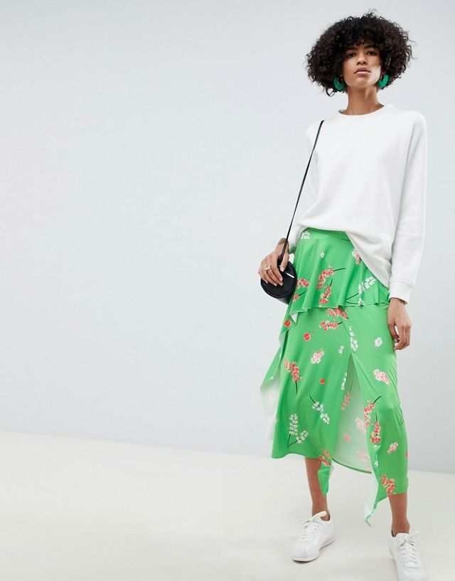 slinky floral print midi tea skirt with frill