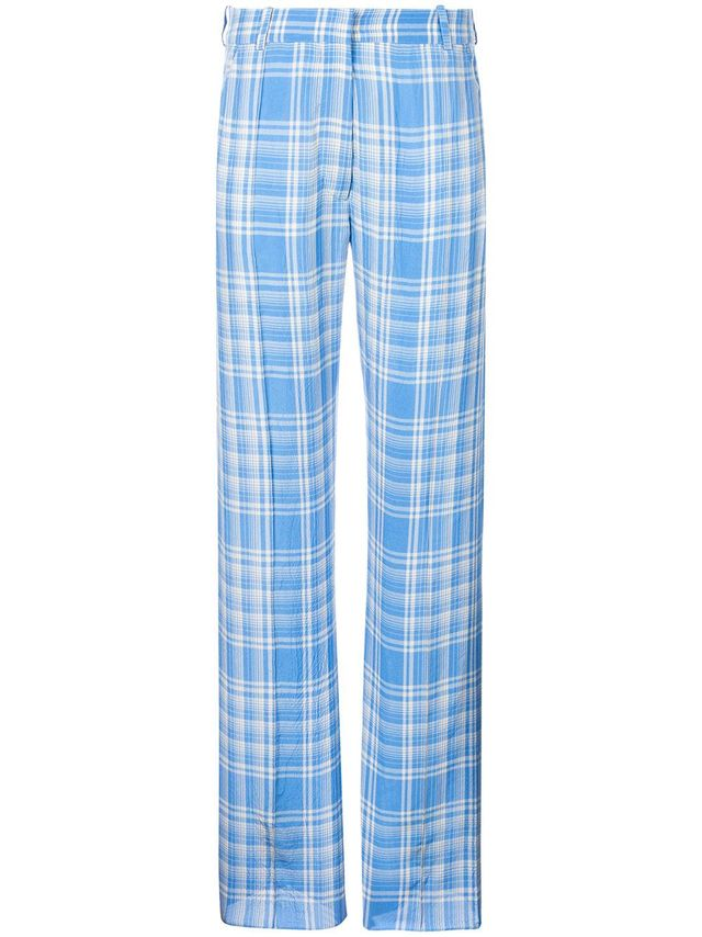 plaid straight leg trousers