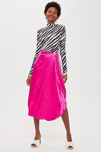 Satin Drape Midi Skirt