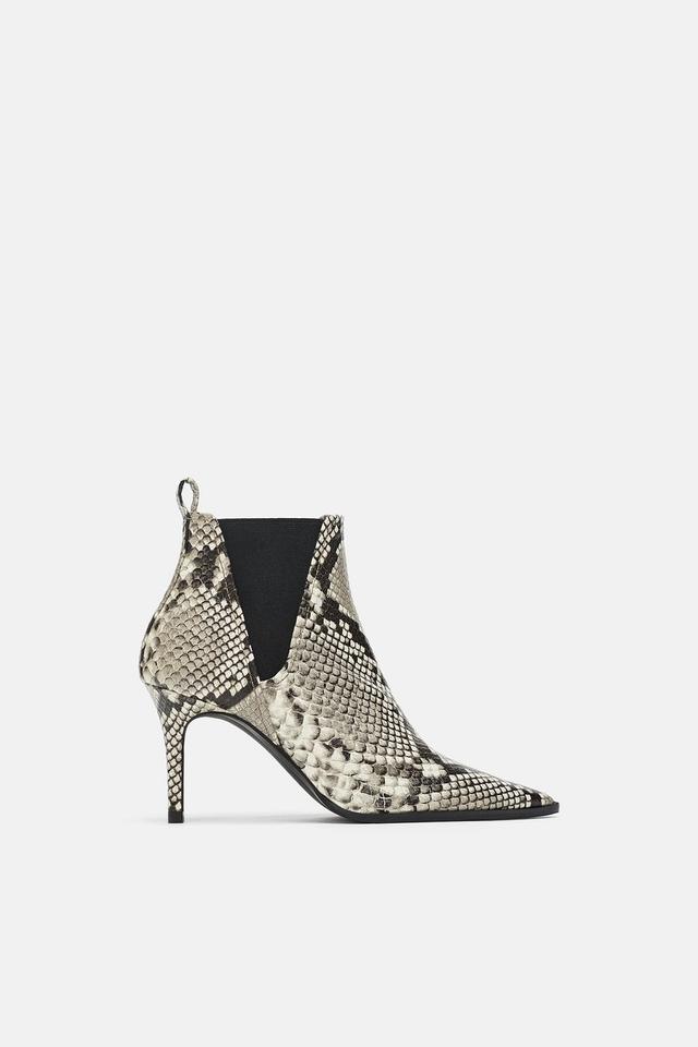 Zara Snakeskin Print Heeled Leather Ankle Boots