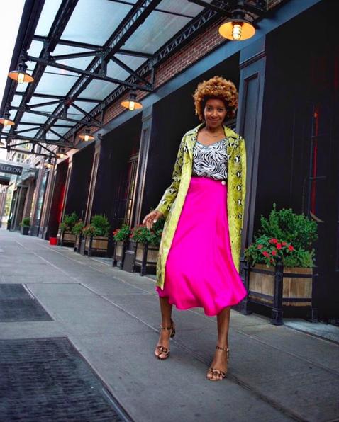 Neon pink skirt and animal print outfit