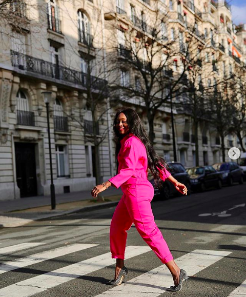 Neon pink jumpsuit outfit