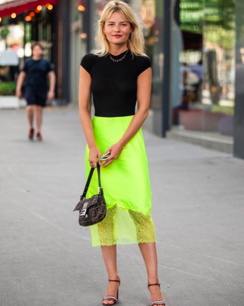 Neon skirt outfit