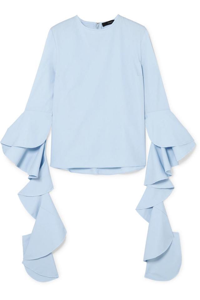 Emmeline Ruffled Cotton-poplin Top