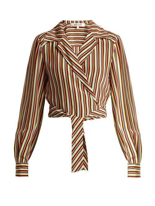 - Paxton Striped Silk Cropped Blouse - Womens - Cream Stripe