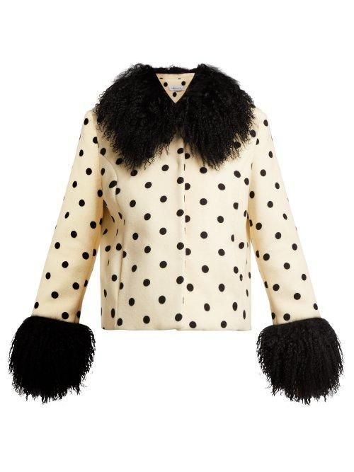 - Dorothe Polka Dot Wool Jacket - Womens - White Black