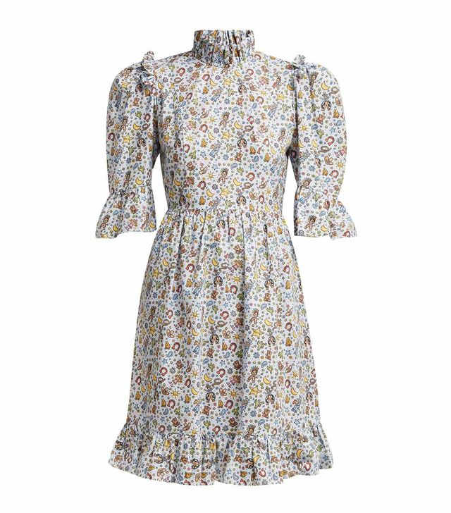 - Western Print One Of A Kind Cotton Midi Dress - Womens - White Multi