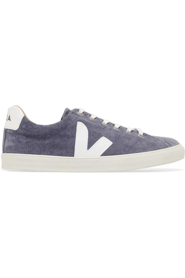 V-10 Bastille Leather-trimmed Velvet Sneakers