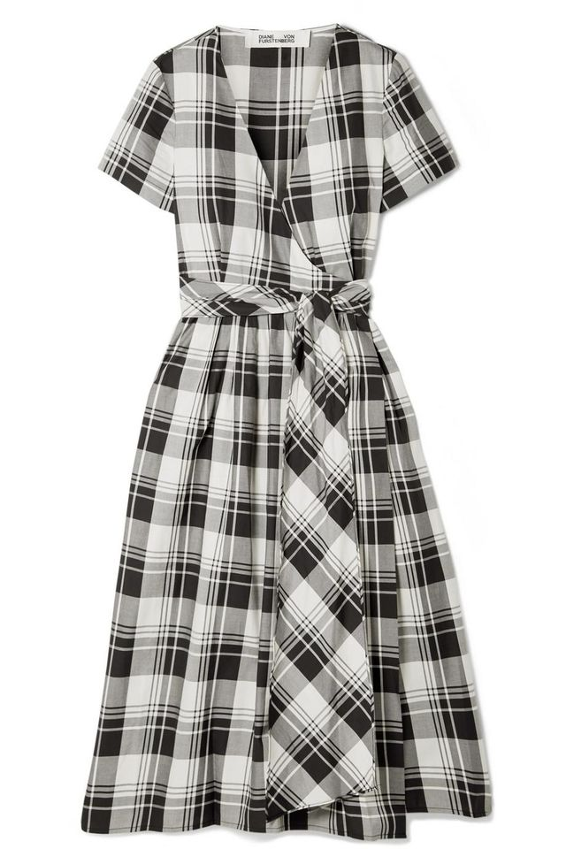 Checked Cotton-poplin Wrap Midi Dress