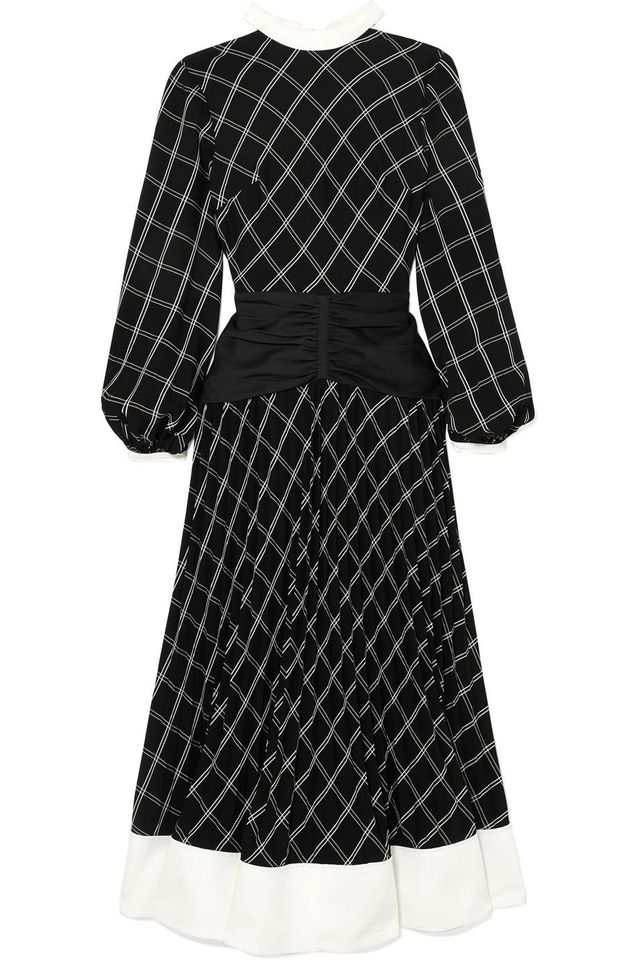 Paneled Checked Matte-satin Midi Dress