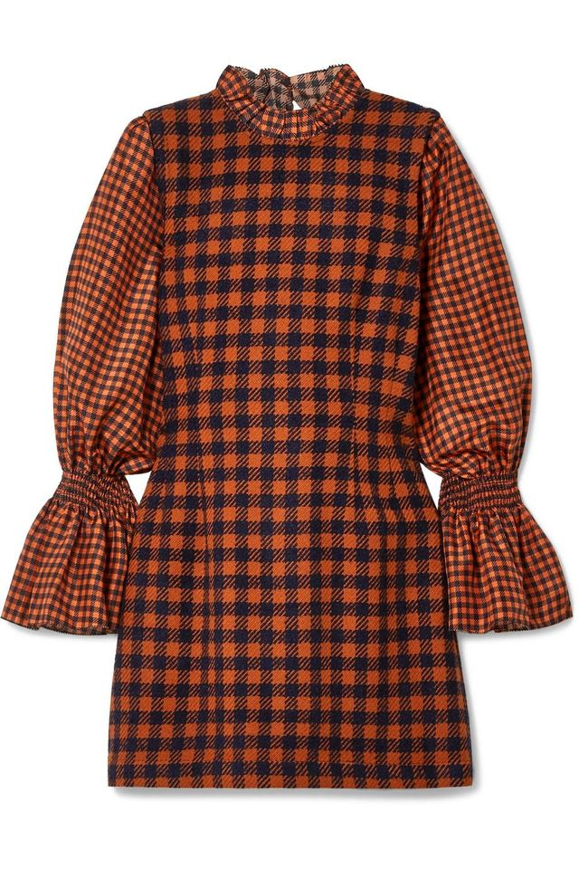 Ethno Pop Checked Wool-blend And Silk Mini Dress