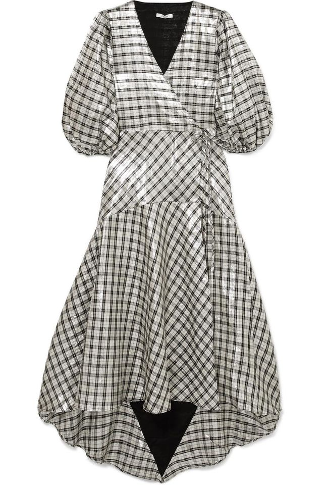 Lagarde Checked Silk-blend Lamé Wrap Dress