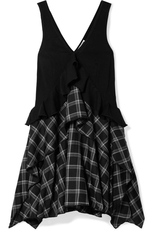Ruffled Cotton-paneled Plaid Brushed-twill Mini Dress