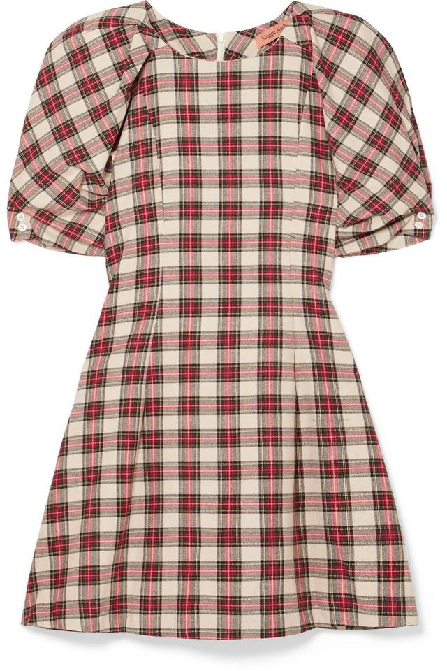 Fashionably Early Plaid Cotton Mini Dress