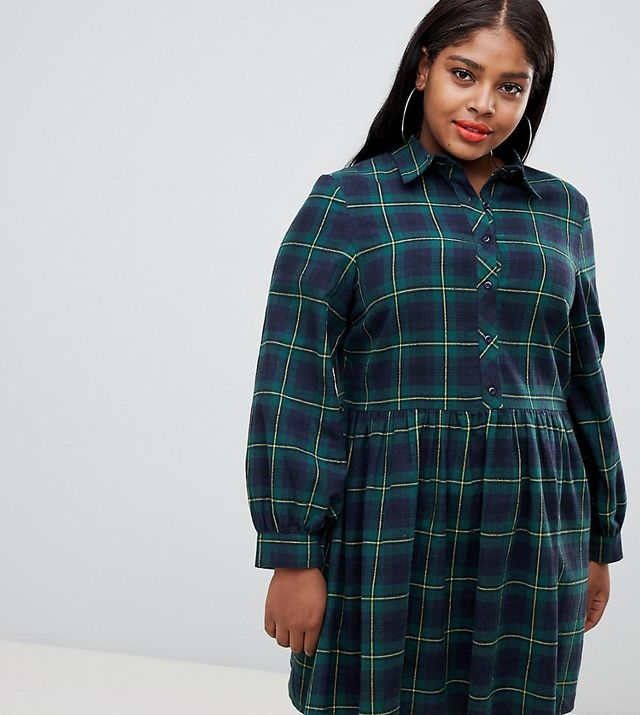 Unique 21 Hero Plus shirt skater dress in plaid