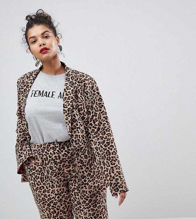 UNIQUE21 Hero Plus Boyfriend Fit Blazer In Leopard Print Two-Piece