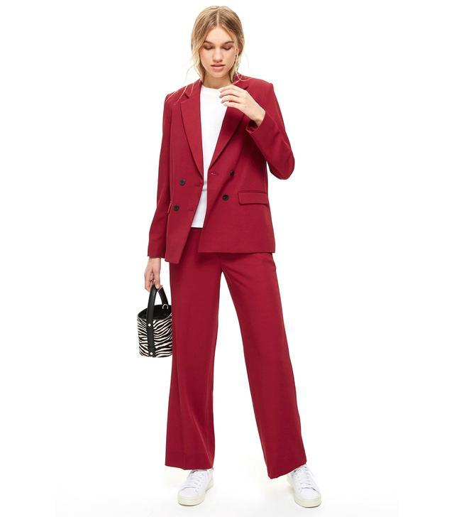 Topshop Slouch Burgundy Suit