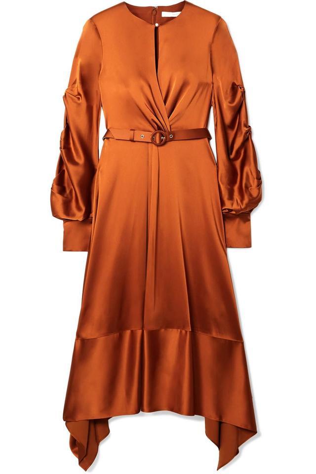 Faux Pearl-embellished Satin Midi Dress
