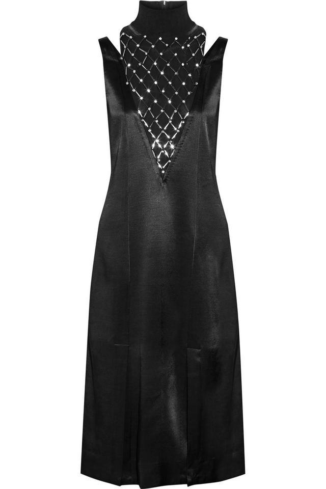 Leosa Embellished Chiffon-paneled Satin Midi Dress