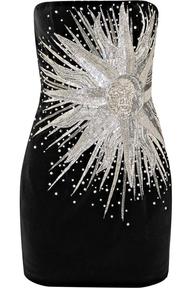 Strapless Embellished Cotton-velvet Mini Dress