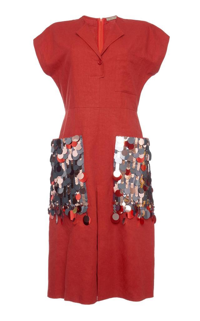 Paillette-Embellished Cotton-Blend Dress