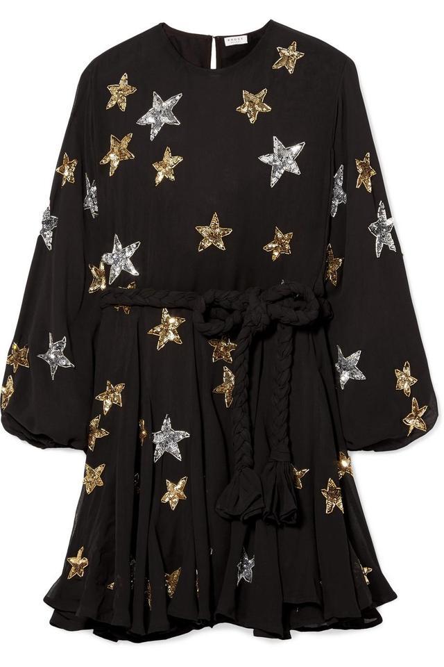 Ella Belted Embellished Chiffon Mini Dress