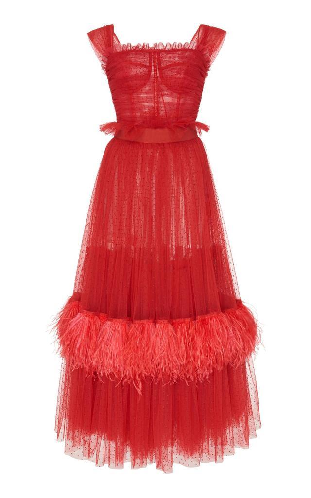 Feather-Embellished Tulle Midi Dress