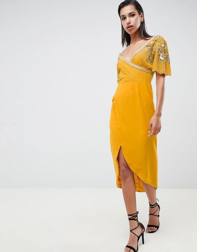 julisa embellished wrap midi dress in mustard