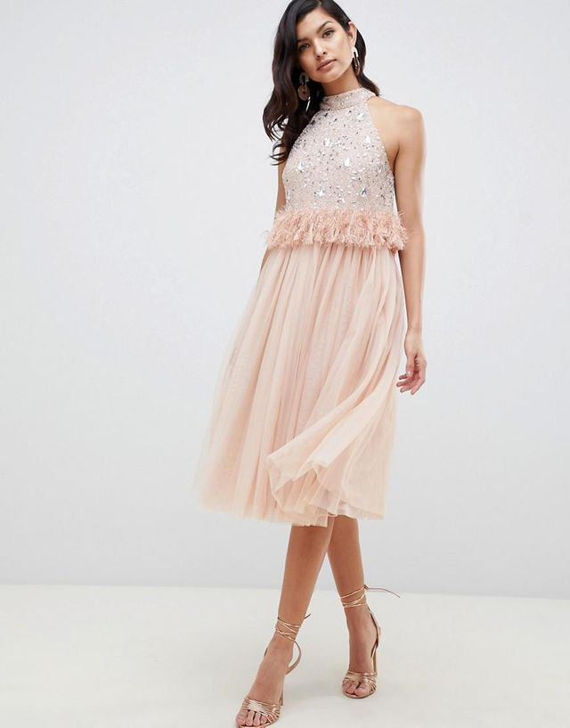 Embellished Sequin Tulle Midi Dress with Faux Feather Trim