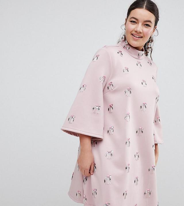 ASOS DESIGN Curve all over embellished shift mini dress