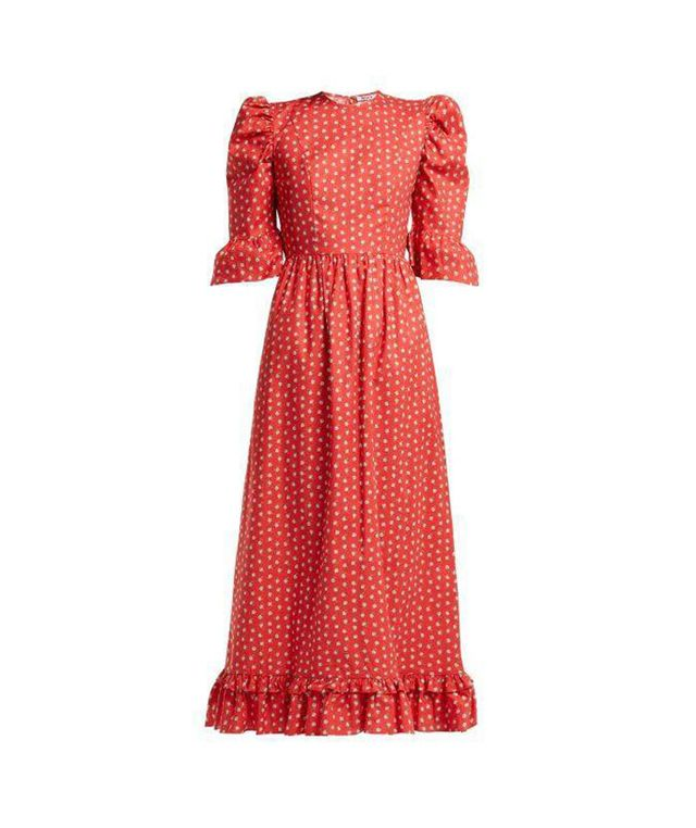 - Floral Print Cotton Dress - Womens - Red